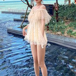 Candyseed - Set: Cold-Shoulder Glitter Swimdress + Bottom