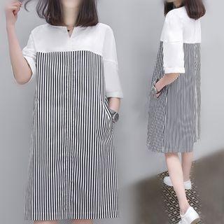 Carmenta - Striped Panel 3/4-Sleeve Midi Dress