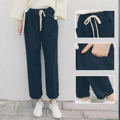 Denimot - Plain Cropped Drawstring Pants
