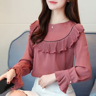 Sienne - Long-Sleeve Frill-Trim Round Neck Blouse