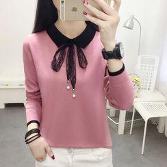 Sienne - Long-Sleeve Lace Tie-Neck Knit Top