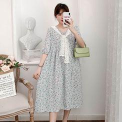 Gypso - Maternity Elbow-Sleeve Flower Print Midi A-Line Dress