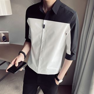 Andrei - Elbow-Sleeve Two Tone Shirt