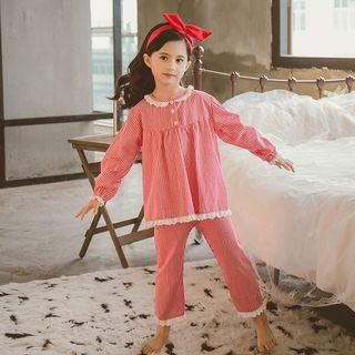 Pegasus - 童装套装: 细条纹长袖上衣 + 裤子