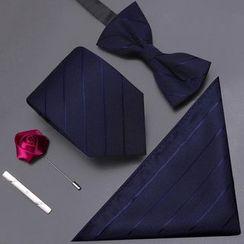 Seaton - Set: Striped Bow Tie + Necktie + Pocket Square + Tie Clip + Rose Brooch