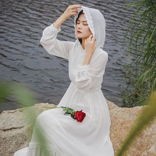 Leonnah - Long-Sleeve Lace-Trim Hooded Sundress