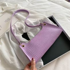Auree - Croc Grain Faux Leather Shoulder Bag