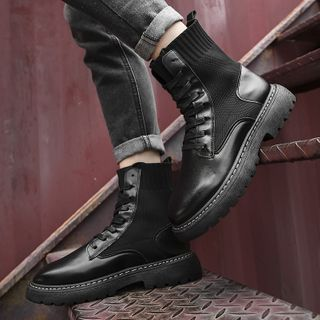 Tanzanite - Lace-Up Short Sock Boots
