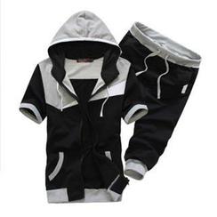 Bay Go Mall - Set: Short-Sleeve Color-Block Hooded Jacket + Cropped Sweatpants