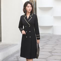 Alesand - Long-Sleeve Double Breasted Coat Dress