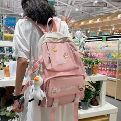 Novila(ノビラ) - Lettering Buckled Nylon Backpack / Sling Bag / Set