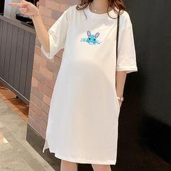 EZ Life - Maternity Elbow-Sleeve Cartoon Print T-Shirt Dress
