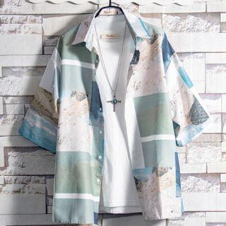Soinku - Print Elbow-Sleeve T-Shirt