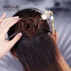 Gangnam - Rhinestone Floral Metal Fringe Hair Stick
