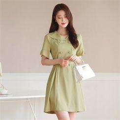 CHICLINE - Short-Sleeve Double-Breasted Coatdress with Sash