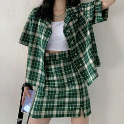 Clematra - Plaid Short-Sleeve Blouse / Mini Straight-Fit Skirt