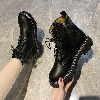 Belbie - Plain Lace-Up Short Boots