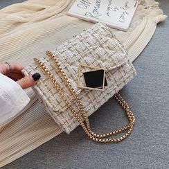 Denyard(デンヤード) - Irregular Buckled Tweed Crossbody Bag