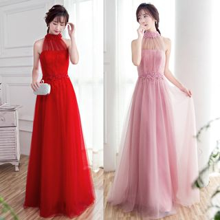 Sennyo - Halter-Neck Beaded Tulle Evening Gown