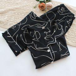Dogini - Couple Matching Pajama Set: Long-Sleeve Print Top + Pants