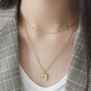 Phoenoa - 925 Sterling Silver Rose Square Pendant Necklace