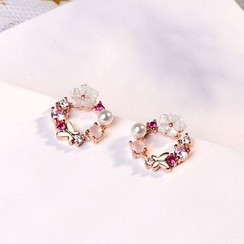Knick Knack - Rhinestone Floral Hoop Earrings