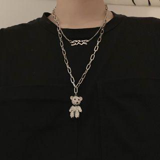 Malnia Home - Bear Pendant Layered Necklace