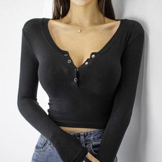 Leandra - 長袖扣領衫短款上衣