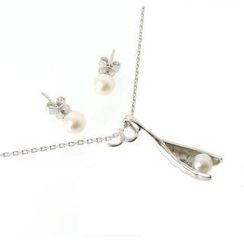 Bellini - Pea in the Pod Earrings and Necklace Set (White Pearl)