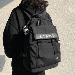 Novila - Set: Lettering Buckled Backpack + Bag Charm