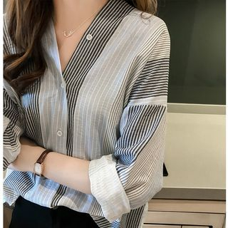 Happo - Striped V-Neck Blouse