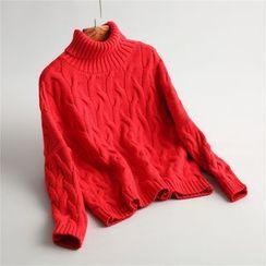 Indinico - 高領麻花針織毛衣
