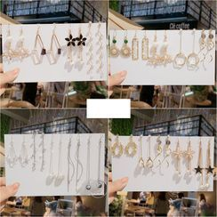 Gold Beam - Set Of 5 Pairs: Earring (Various Designs)