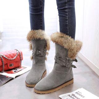 Shoes Galore - Faux Fur Trim Short Boots