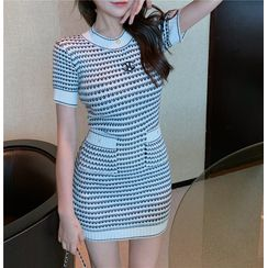 Ginger Girl - Short-Sleeve Patterned Knit Mini Bodycon Dress