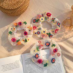 Taimi(タイミ) - Embroidered Flower Mesh Scrunchie