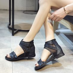 Aneka - Fishnet Panel Hidden-Wedge Sandals