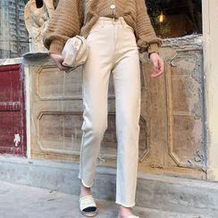 Ashlee - Lantern-Sleeve Cropped Cardigan / Cropped Straight Leg Jeans