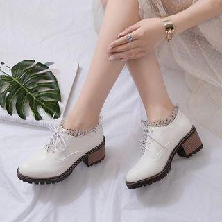 Pangmama - Mesh Panel Platform High Heel Lace Up Shoes