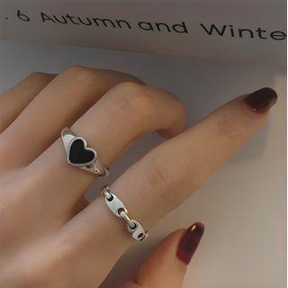 Fireflicka - 925纯银心形开口戒指