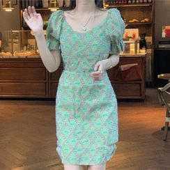 Tonni's - 泡泡袖印花迷你塑身連衣裙