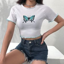 Cincine - Butterfly Print Short-Sleeve Cropped T-Shirt