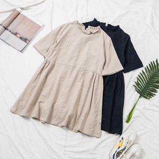 IndiGirl - Frilled Collar Short-Sleeve Babydoll Dress