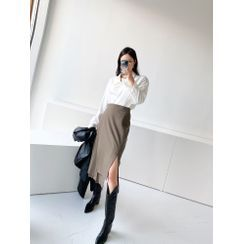 PPGIRL - Band-Waist Pleated-Panel Woolen Wrap Skirt