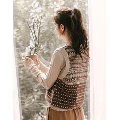 GOROKE(ゴロケ) - V-Neck Patterned Knit Vest