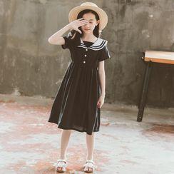 Cuckoo - Kids Sailor Collar Short-Sleeve Midi A-Line Dress