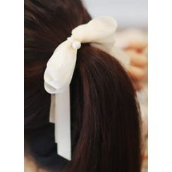 kitsch island - Faux-Pearl Trim Ribbon Hair Tie