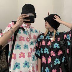 Koiyua - Short-Sleeve Flower Print Shirt