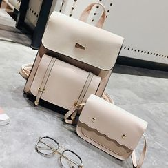 Selinda - Set: Faux Leather Backpack + Crossbody Bag