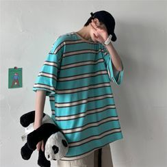 SZU - Elbow-Sleeve Striped T-Shirt